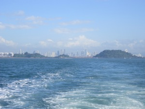 On the ferry leaving Panama City