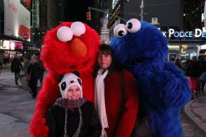 Kaia and I with Grover and Elmo (look at Elmo's eyes!)
