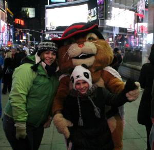 Erin and Kaia with Puss 'N Boots out in Times Square